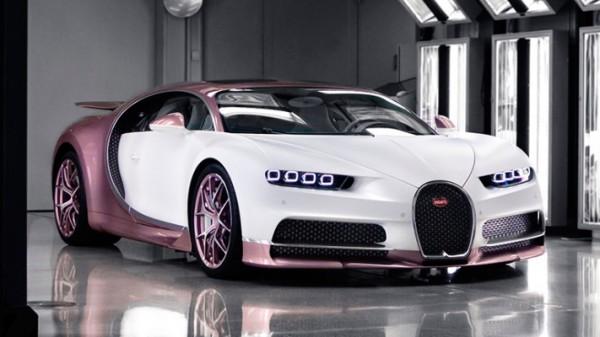Bugatti Chiron, розово-белый, именной