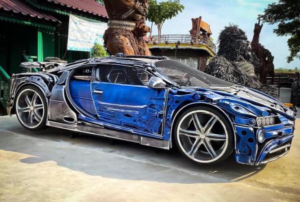 Bugatti Chiron, сделанный из металлолома