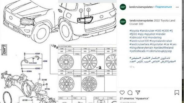 Toyota Land Cruiser 300 2022 года, чертежи